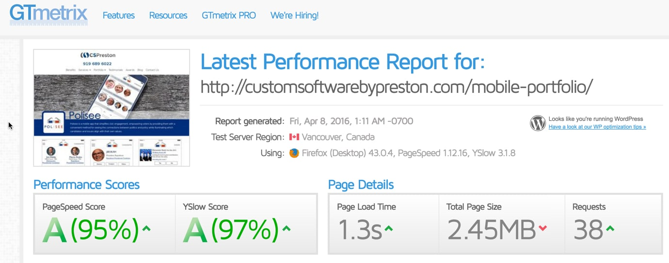 optimized for page load speed